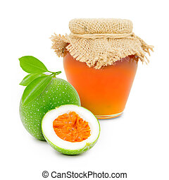 Maracuja product - Photo of glass with maracuja jam isolated...