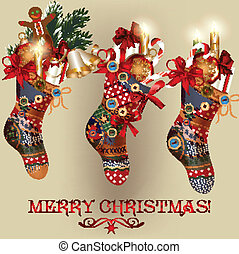 Christmas card with socks, baubles - Vector Christmas card...