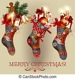 Christmas card with socks, baubles, bells and gifts - Vector...