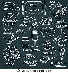 Chalkboard menu elements set 3 - Chalkboard set of hand...