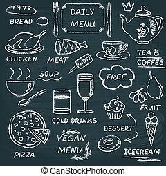 Chalkboard menu elements set 3 - Chalkboard set of hand...