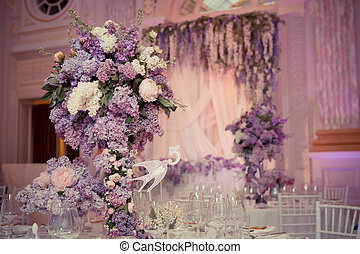 Festive table decoration in Lilac colours. Wedding...