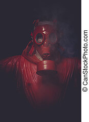 Problem, A man in a gas mask over the smoke black background...