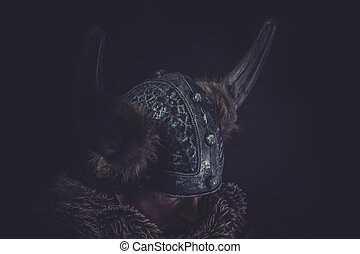 Costume, Viking warrior with a huge sword and helmet with...