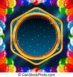 Holiday background with balloons frame