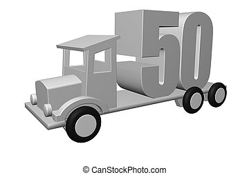 fifty - the number fifty - 50 - on an old truck - 3d...