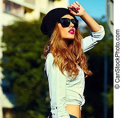 modelo, mirada, encanto, Moda, Estilo de vida, calzoncillos,...