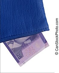 Twenty dirhams in a purse - A blue purse containing a note...
