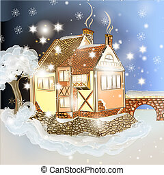 Evening Christmas scene with house in snow - Christmas...