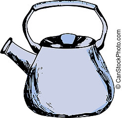 kettle - hand made illustration of a series of items, kettle