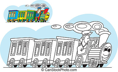 Coloring page - cartoon train - Coloring page - vehicle -...