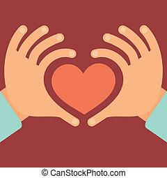 Vector hands in the form of heart - love and charity concept...