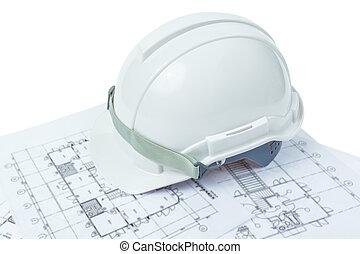 Hjälm, arbete, begrepp, ingenjörsvetenskap, säkerhet,  plan