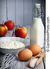 Pancakes ingredients - Food ingredients to make American...