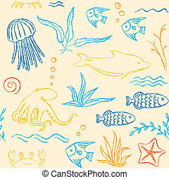 Sealife hand drawn seamless pattern - Colorful seamless...