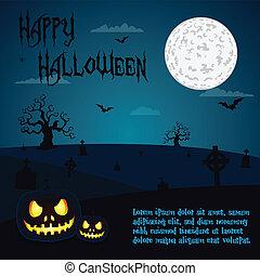 Halloween illustration, blue night