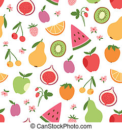 Stylized flat fruits, berries and pink flowers seamless...