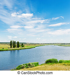 view to landscape with river and clouds in blue sky