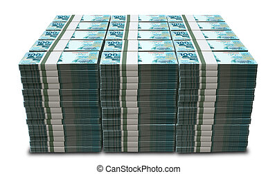 A pile of wads of brazilian real banknotes on an isolated...