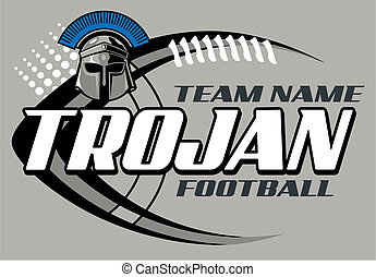 trojan football design with helmet and football