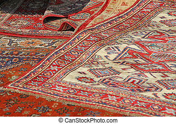 beautiful Oriental rugs in available in a stall at the...