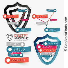 Vector shield protection infographic