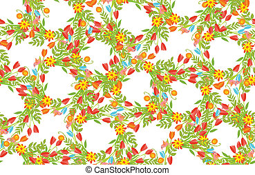 Floral Frame of cute retro flowers