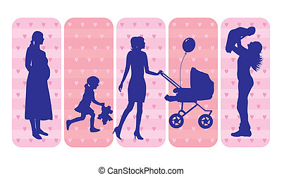 Mothers and children silhouettes - Silhouettes on an...