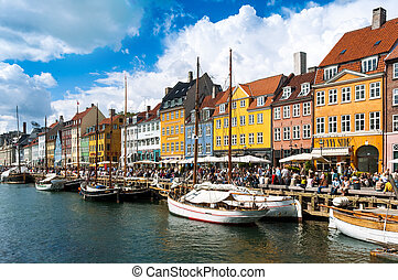 The busy quayside at Nyhavn, Copenhagen, Denmark