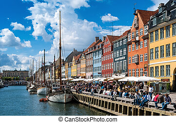 Crowds at Nyhavn, Copenhagen, Denmark