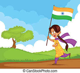 Indian girl waving flag of India