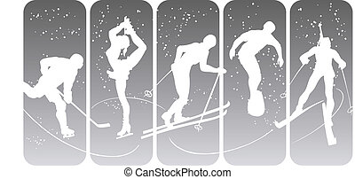 Winter sport silhouettes on an abstract background