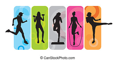 Fitness silhouettes - Sport silhouettes on an abstract...