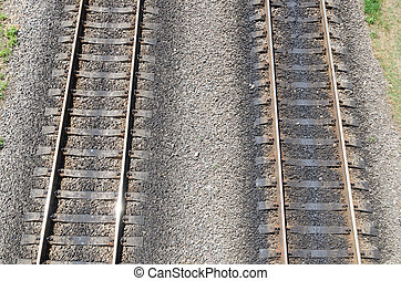 two parallel railroads. aerial view
