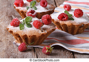 raspberry cupcakes with mint, sprinkled with powdered sugar...