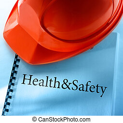 Health and safety with helmet - Health and safety with red...