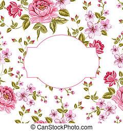 primavera, flores, buquet, vindima, cartão