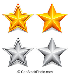 Golden and silver stars. - Collection of two golden and two...