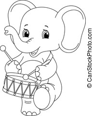 elephant coloring page - small elephant marching and...