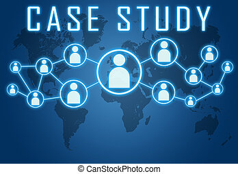 Case Study concept on blue background with world map and...