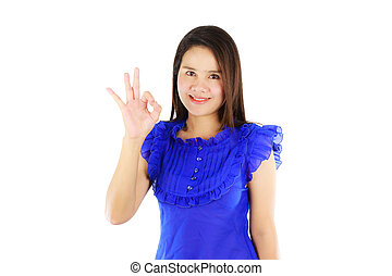 Asian woman showing ok sign isolated on white background