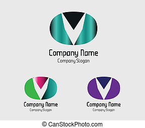 Abstract icon for letter V vector