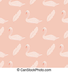 Gentle seamless pattern whith swans Vector illustration