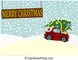 Christmas - Greeting card with Christmas tree on the roof of...