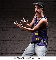 male hip-hop dancer - young caucasian male hip-hop dancer...