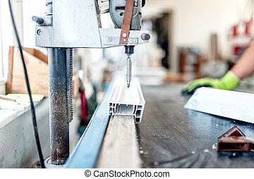 industrial metal and steel drilling tools in factory. Metal...