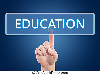 Education - Hand pressing Education button on interface with...