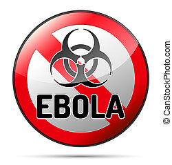 Ebola Biohazard virus danger sign with reflect and shadow on...
