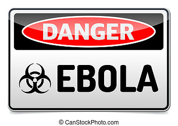Ebola virus danger sign with reflect and shadow on white...