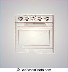 Sketch vector illustration of oven - Drawing of brown sketch...